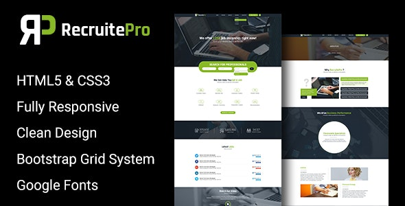Recruit Pro Staffing and Recruiting HTML Template - Corporate Site Templates