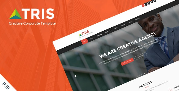 Tris - One Page Business Website PSD Template - Creative Photoshop