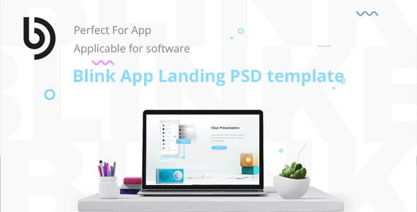 Blink Software Landing  PSD Template - Photoshop UI Templates