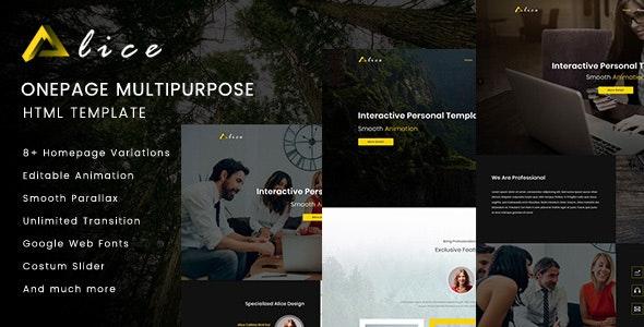 Alice Onepage Multipurpose HTML Template - Portfolio Creative