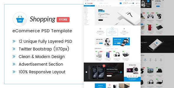 Shopping Store eCommerce PSD Template - Shopping Retail