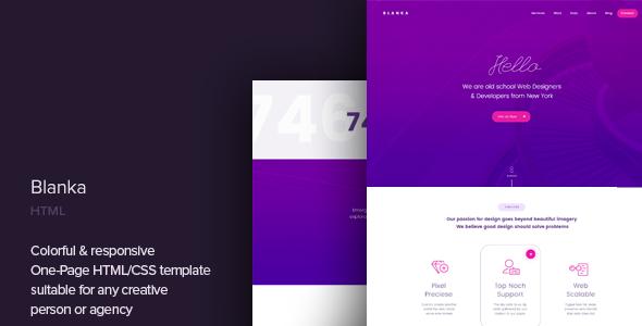 Bardzo dobry Blanka - One Page HTML Template by CocoBasic | ThemeForest YH81