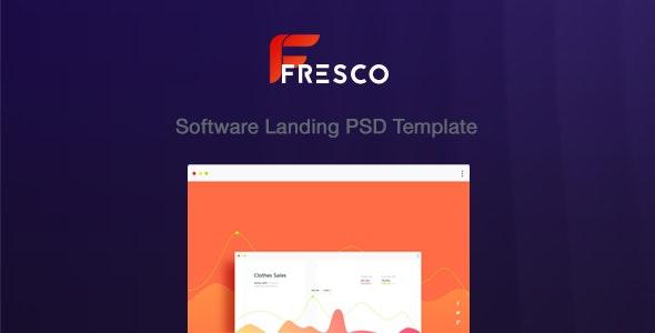 Fresco software landing  PSD Template - Photoshop UI Templates
