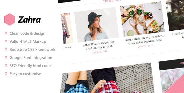 Zahra - Personal Blog Template - Personal Site Templates