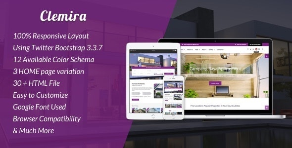 Clemira - Responsive Real Estate HTML Template - Corporate Site Templates