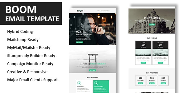 Boom - Multipurpose Responsive Email Template With Online StampReady Builder Access - Newsletters Email Templates