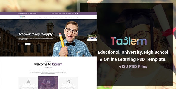 Taalem - Education, University & Online Learning PSD Template - Corporate Photoshop