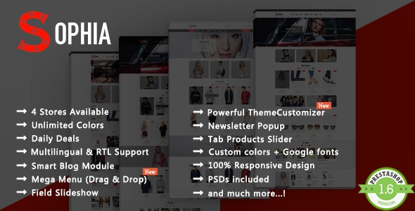 Sophia - Fashion T-shirt & Dress Responsive PrestaShop Theme - Fashion PrestaShop