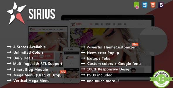 Sirius - T-shirt & Dress Fashion Responsive PrestaShop Theme