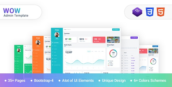 WOW - Admin Template Bootstrap 4 with material design - Admin Templates Site Templates