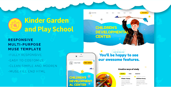 Vector-Kids School, Kinder Garden and Play School Muse Templates - Corporate Muse Templates