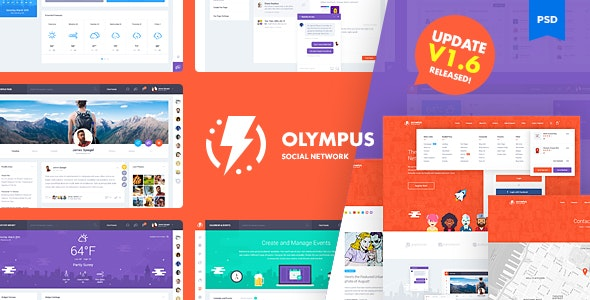 Olympus Social Network PSD Template V1.6 - Creative Photoshop