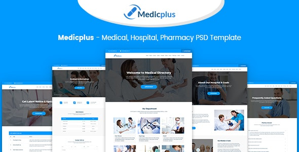 Medicplus - Medical, Hospital, Pharmacy PSD Template - Photoshop UI Templates