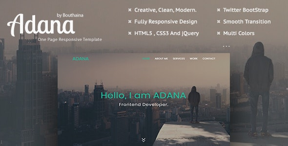Adana - One Page Personal Template - Personal Site Templates