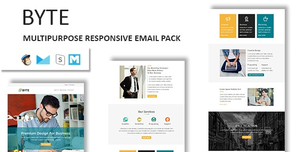 Byte - Multipurpose Responsive Email Template With Stamp Ready Builder Access - Newsletters Email Templates