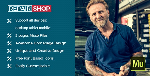 Repair Shop - Muse Template - Corporate Muse Templates