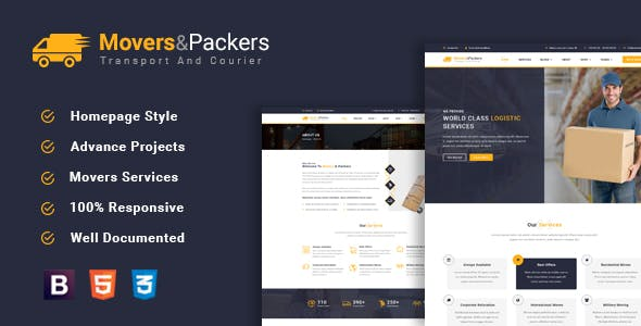 Movers Packers - Logistics Transportation HTML Template