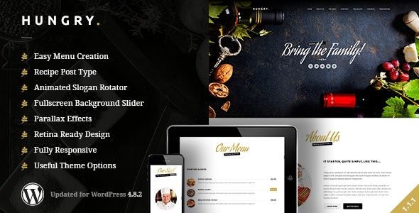 Hungry | A WordPress One Page Restaurant Theme - Restaurants & Cafes Entertainment