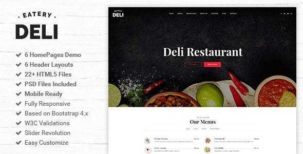 Deli | Restaurant HTML5 Template - Restaurants & Cafes Entertainment