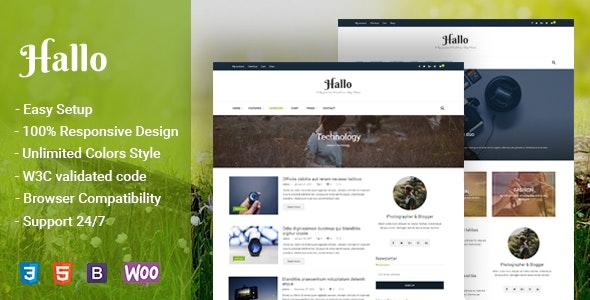 Hallo - Lifestyle A Responsive WordPress Blog Theme - Personal Blog / Magazine