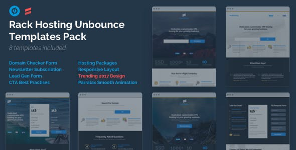 Rack Hosting - Unbounce Landing Page Templates Bundle Pack