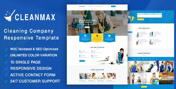 CleanMax- Cleaning Company Responsive Template - Business Corporate