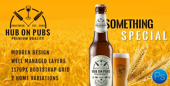 Hub On Pubs Bar and Restaurant PSD Template - Food Retail