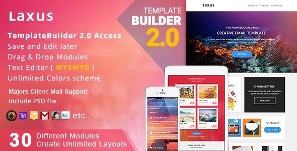 Laxus - Responsive Email Template + Builder Online - Newsletters Email Templates