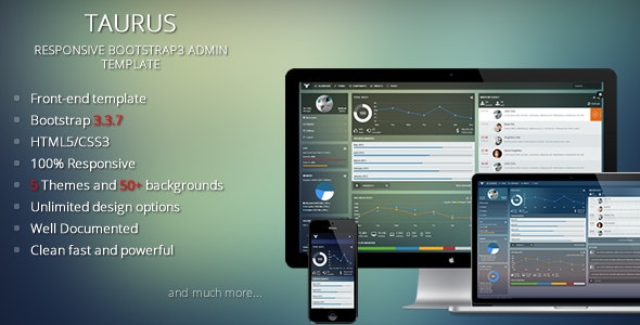 Taurus - Responsive Bootstrap Admin Template - Admin Templates Site Templates