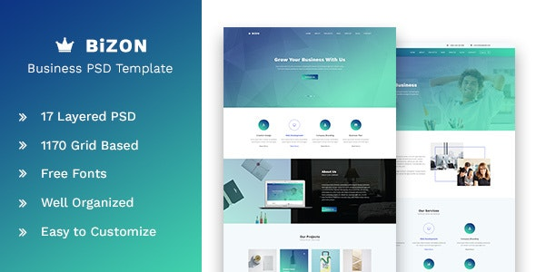 Bizon - Business and Agency PSD Template - Corporate Photoshop