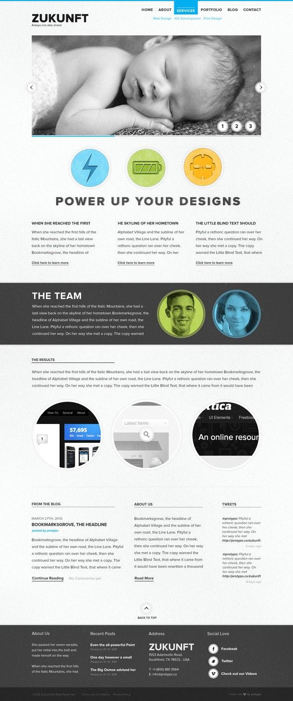 Zukunft Creative PSD Template - Portfolio Creative