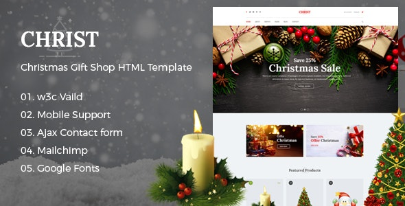 Christ - Christmas Gift Shop eCommerce HTML Template - Shopping Retail
