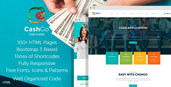 CashGo - Fast Loan Financial Company HTML Template with Visual Page Builder