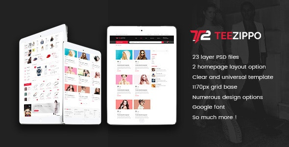 TEEZIPPO - eCommerce PSD Template - Shopping Retail