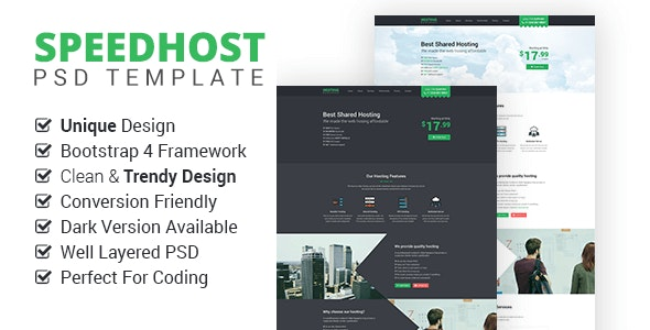 SpeedHost - Onepage Premium Hosting PSD Template - Hosting Technology