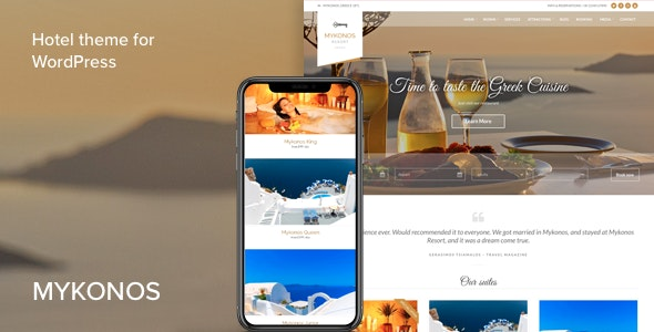 Mykonos Resort - Hotel Theme For WordPress - Travel Retail
