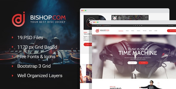 Bishop - Dj Personal Page PSD Template - Nightlife Entertainment