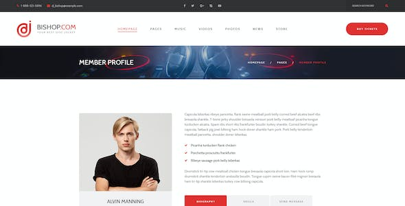 Bishop - Dj Personal Page PSD Template