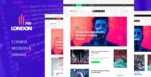 London - A Blog Template - Photoshop UI Templates