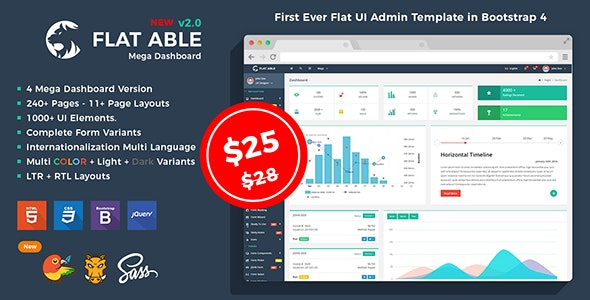 Flat Able - Bootstrap 4 Admin Template v2.0 - Admin Templates Site Templates