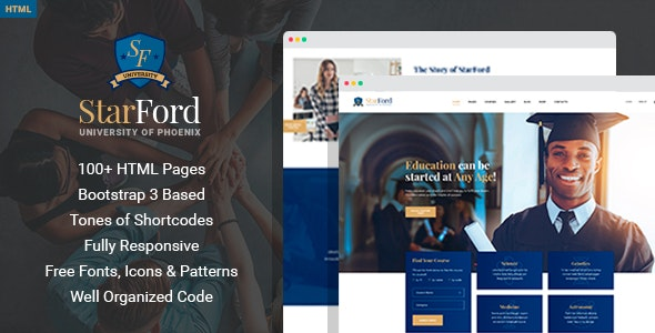 StarFord University - Educational HTML Template with Page Builder - Corporate Site Templates