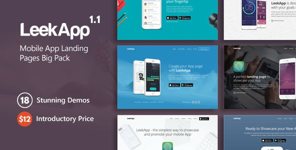 LeekApp - Mobile App Landing Pages Big Pack - Landing Pages Marketing