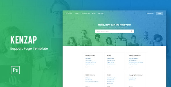 Kenzap - Help Support Page Template PSD - Business Corporate