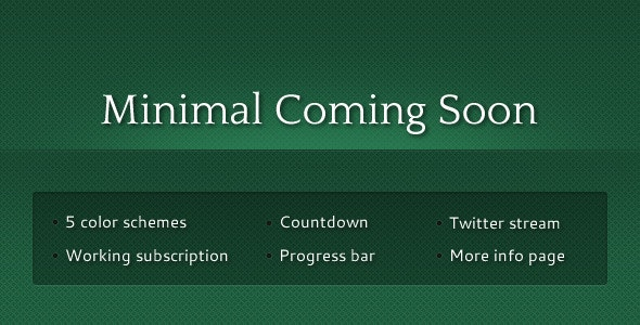 Minimal Coming Soon - Under Construction Specialty Pages