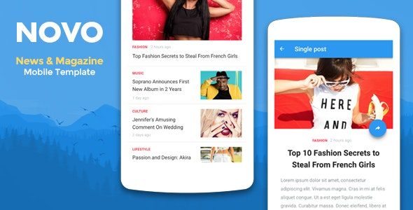 Novo - News & Magazine Mobile Template - Mobile Site Templates
