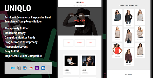 UNIQLO - Fashion & Ecommerce Responsive Email Template + StampReady Builder - Email Templates Marketing