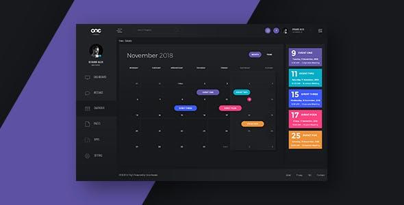Calendar Interface - One Dashboard