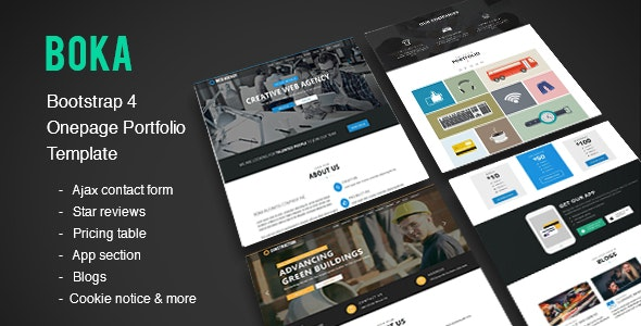 Boka - Bootstrap 4 Onepage Template for Construction, Corporate & Web Agency - Portfolio Creative