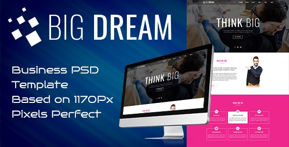 Bigdream One Page Business Psd Template - Corporate Photoshop