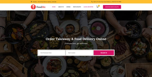 FoodMe-Food Delivery & Food Ordering Psd Template.